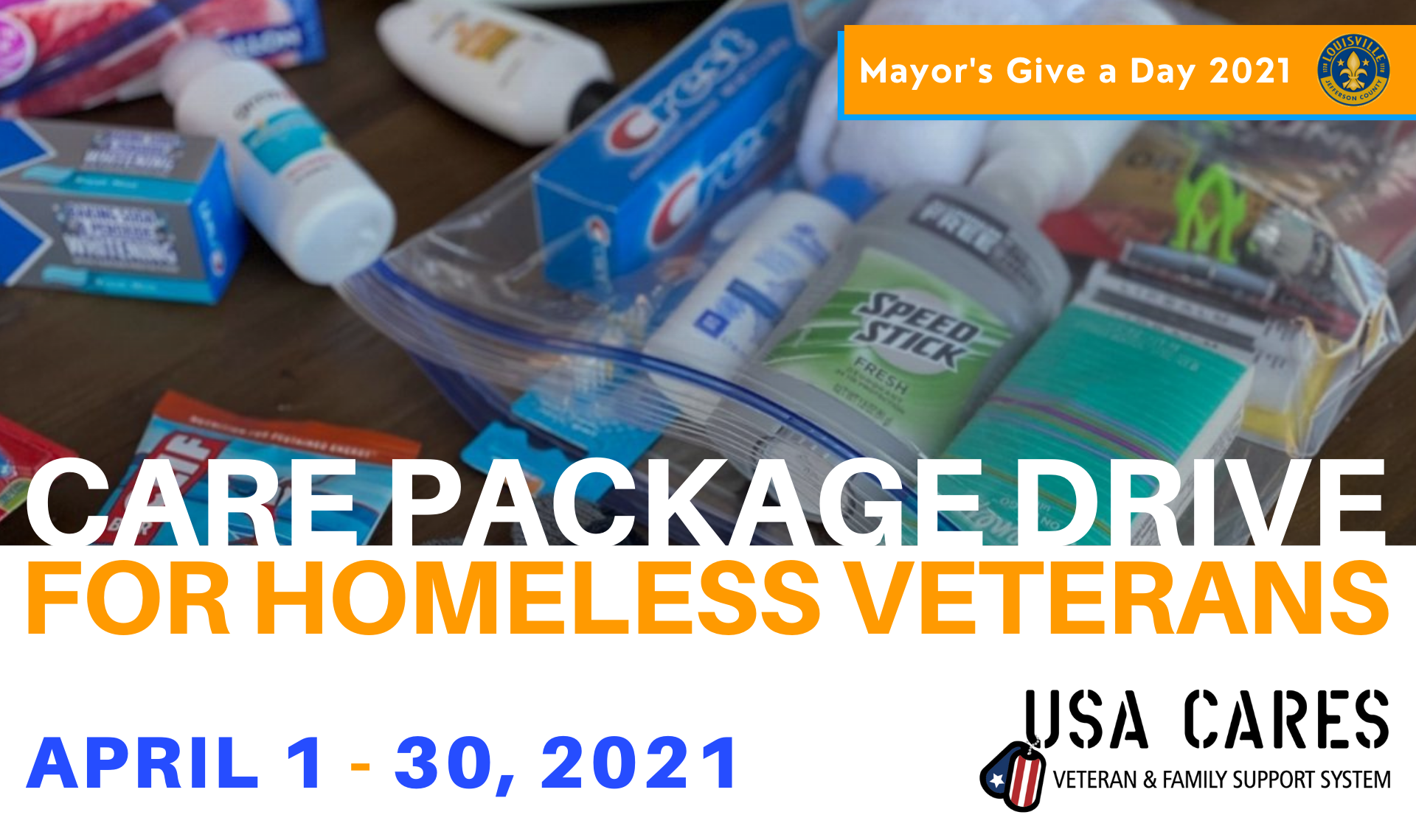 cover image for care packages, hero image for care package drive, blessing bags for homeless, donation drive for homeless veterans.