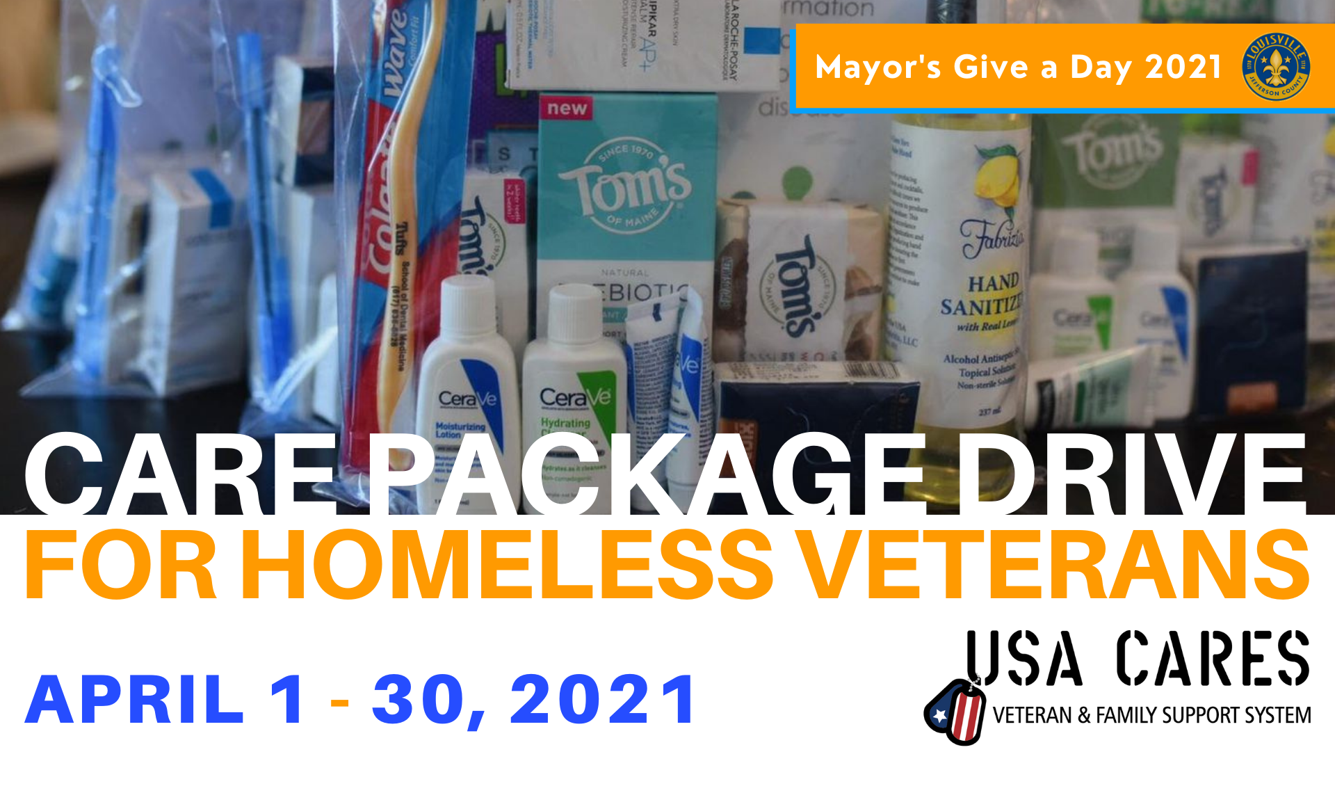 personal care items and travel size hygiene items in background, care package drive for homeless veterans, hosted by USA Cares